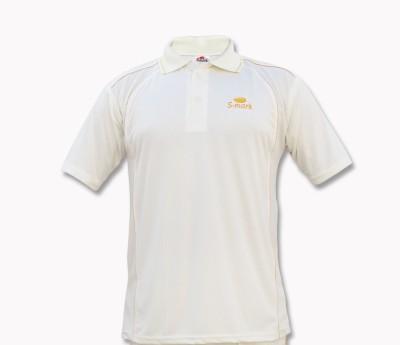 S-Mark Embroidered Men's Polo Neck White T-Shirt