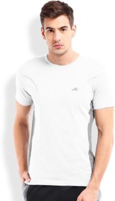2go Solid Men's Round Neck White, Grey T-Shirt