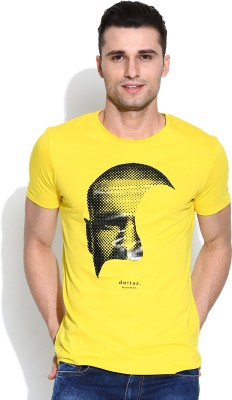 United Colors of Benetton Solid Men's Round Neck Yellow T-Shirt