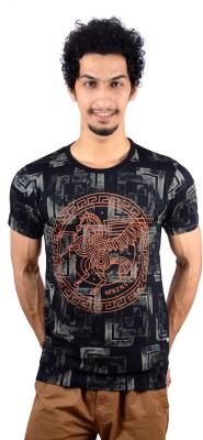 GreyBooze Graphic Print Men's Round Neck Black T-Shirt