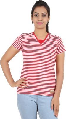 Recca Striped Women,s V-neck Red T-Shirt