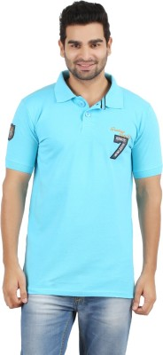 Danteez Embroidered Men's Polo Neck Blue T-Shirt