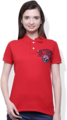 GOINDIASTORE Solid Women's Polo Red T-Shirt