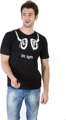 RICK AND MASCH Printed Men's Round Neck Black T-Shirt