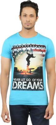 LEVELS Printed Men,s Round Neck Blue T-Shirt