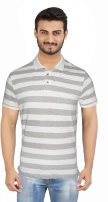 Hoodz Striped Men's Polo Neck Grey T-Shirt