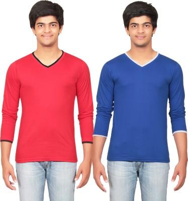 Graceful Self Design Men's V-neck Red, Blue T-Shirt