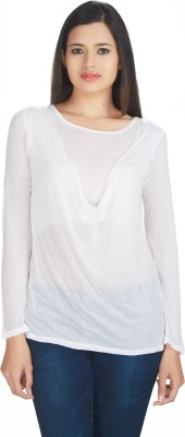 Defossile Solid Women's Round Neck White T-Shirt