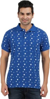 AG Printed Men's Polo Neck Blue, White T-Shirt