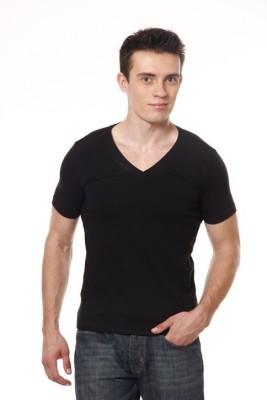 Xarans Solid Men's V-neck Black T-Shirt
