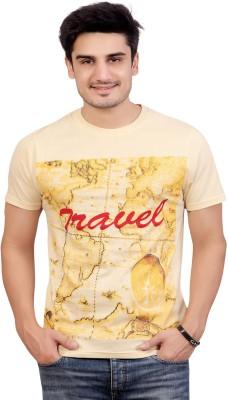 Stephen Armor Graphic Print Men's Round Neck Beige T-Shirt