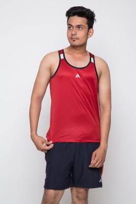 Acetone Solid Men's Scoop Neck Red, Black T-Shirt