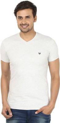 John Players Solid Men's V-neck White T-Shirt