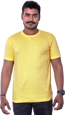 Colours99 Solid Men,s, Boy's Round Neck Yellow T-Shirt