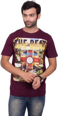 YOUTH & STYLE Printed Men's Round Neck Maroon T-Shirt