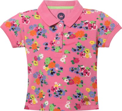 Vitamins Graphic Print Baby Girl's Polo Neck Pink T-Shirt