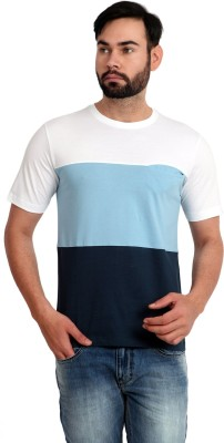 Urban Republic Solid Men's Round Neck White, Light Blue, Blue T-Shirt