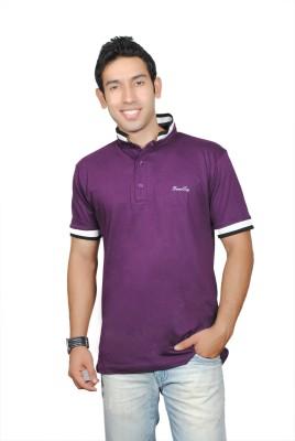 Brand Teez Solid Men's Polo Purple T-Shirt