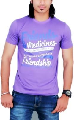 MaximBlue Printed Men's Round Neck Purple T-Shirt