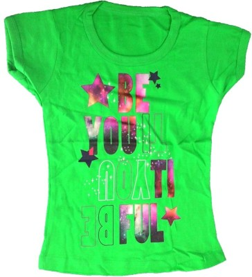 Cool Baby Printed Girls Round Neck Green T-Shirt