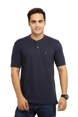 BepoyZ Solid Men's Henley Dark Blue T-Shirt