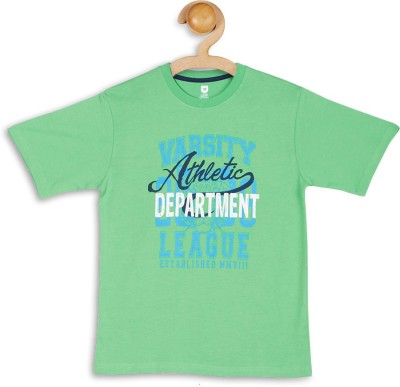 612 League Graphic Print Boy's Round Neck Green T-Shirt