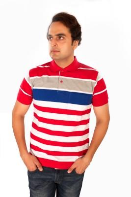 Maggivox Striped Men's Polo Red, Grey, Blue T-Shirt