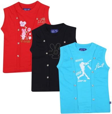 SPN Garments Printed Girl,s Round Neck Red, Black, Blue T-Shirt