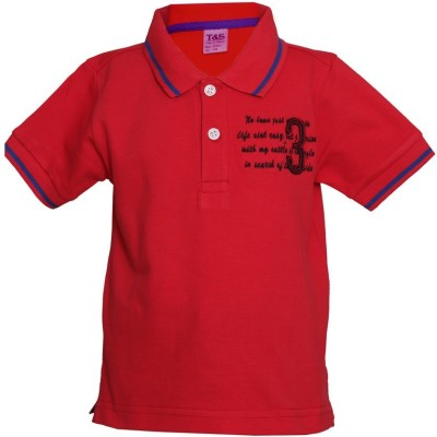 Tales & Stories Solid Boy's Polo Neck Red T-Shirt