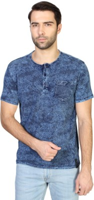 Van Heusen Printed Men's Henley Blue T-Shirt