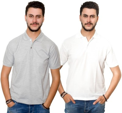 Dreamz Clothing Co Solid Men,s Polo Neck Grey, White T-Shirt