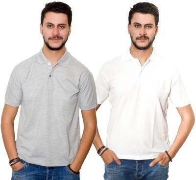 Skitt Clothing Co Solid Men's Polo Neck Grey, White T-Shirt