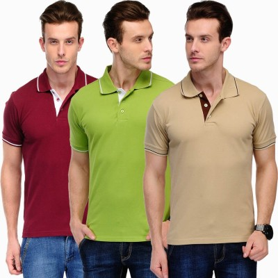 Scott International Solid Men's Polo Maroon, Green, Brown T-Shirt