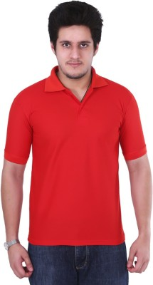 Ngt Solid Men's Polo Neck Red T-Shirt
