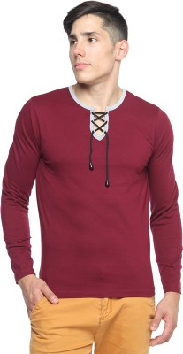 Pepperclub Solid Men's Round Neck Maroon T-Shirt