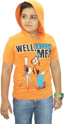 Disney Graphic Print Boy's Hooded Orange T-Shirt
