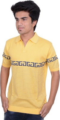 Being Dessi Solid Men's Flap Collar Neck Yellow T-Shirt