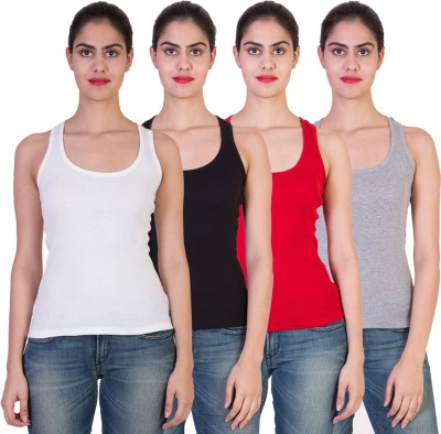 2DAY Solid Women's Round Neck Multicolor T-Shirt