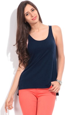 Arrow Solid Women's Round Neck Dark Blue T-Shirt