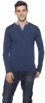 Gritstones Striped Men's Henley Blue T-Shirt