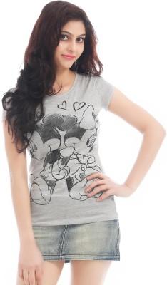 Texco Printed Women,s Round Neck Grey T-Shirt