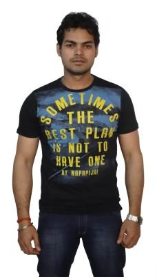 Burnout Printed Men's Round Neck Black T-Shirt