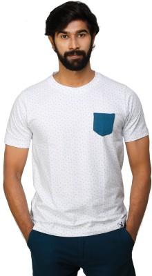0EM Polka Print Men's Round Neck White, Green T-Shirt