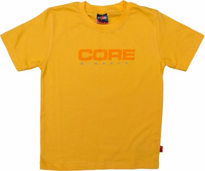 POKIZO Solid Baby Boy's Round Neck Yellow T-Shirt