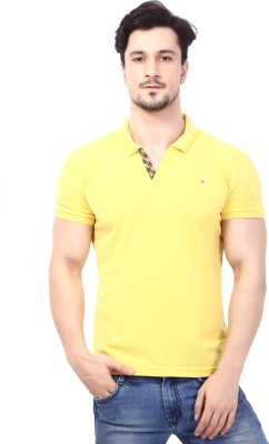 Rugby Solid Men's Polo Neck Gold T-Shirt