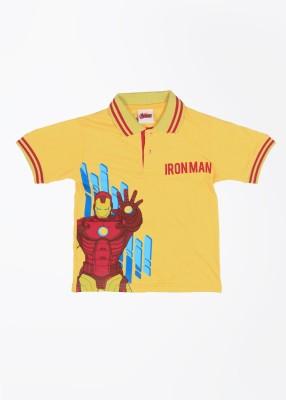 CHERISHKNITS Printed Boy's Polo Yellow T-Shirts