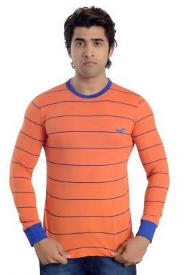 Parv Collections Striped Men's Round Neck Orange T-Shirt