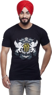 Nihaal Printed Men,s Round Neck Black T-Shirt