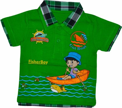 Smilee Graphic Print Baby Boy's Flap Collar Neck Green T-Shirt