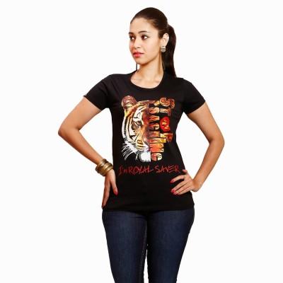 Yaari V4c Self Design Women's Round Neck Black T-Shirt